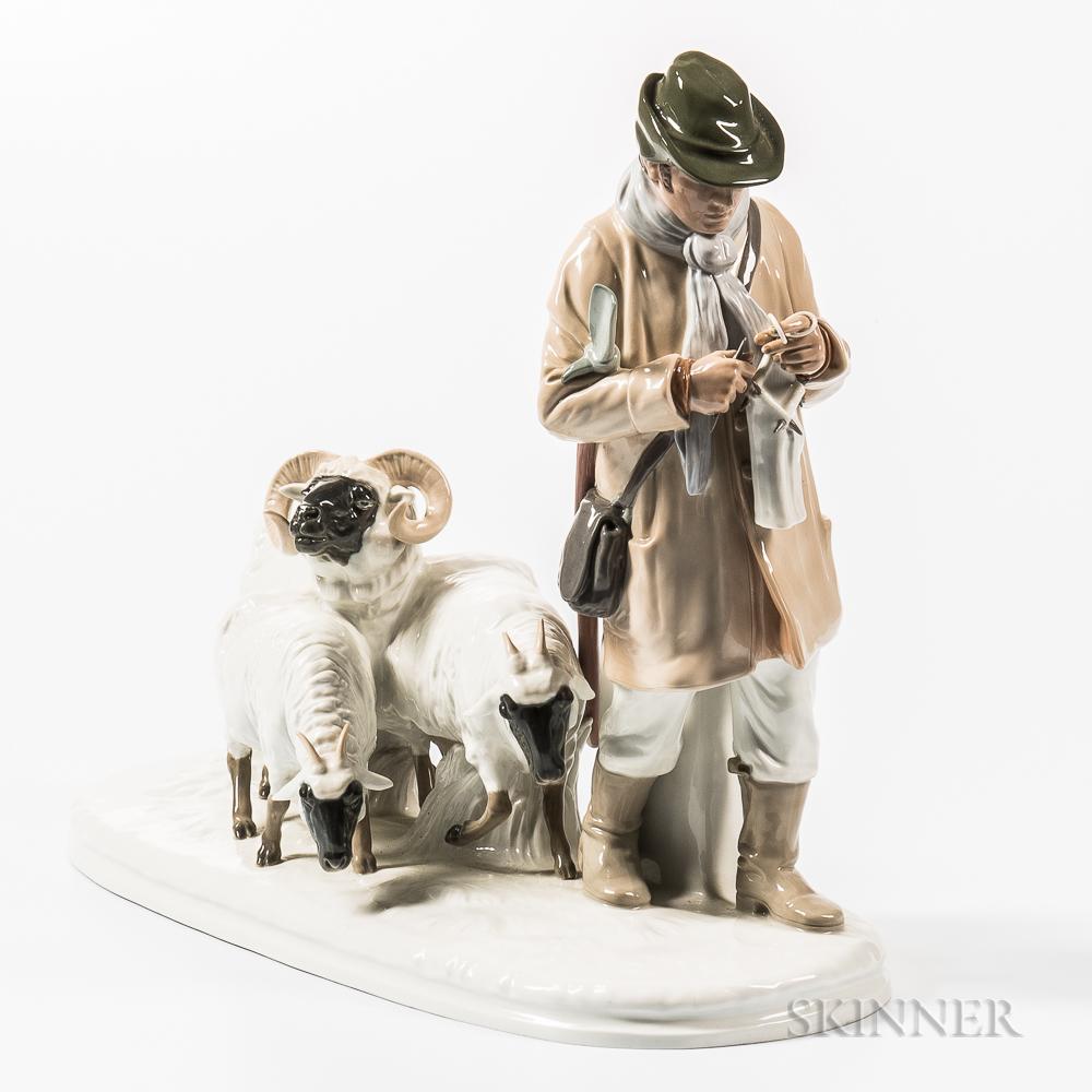 Meissen Porcelain Model of a Knitting Shepherd