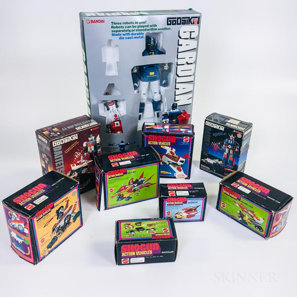 Nine Shogun and Godaikin Toys with Original Boxes