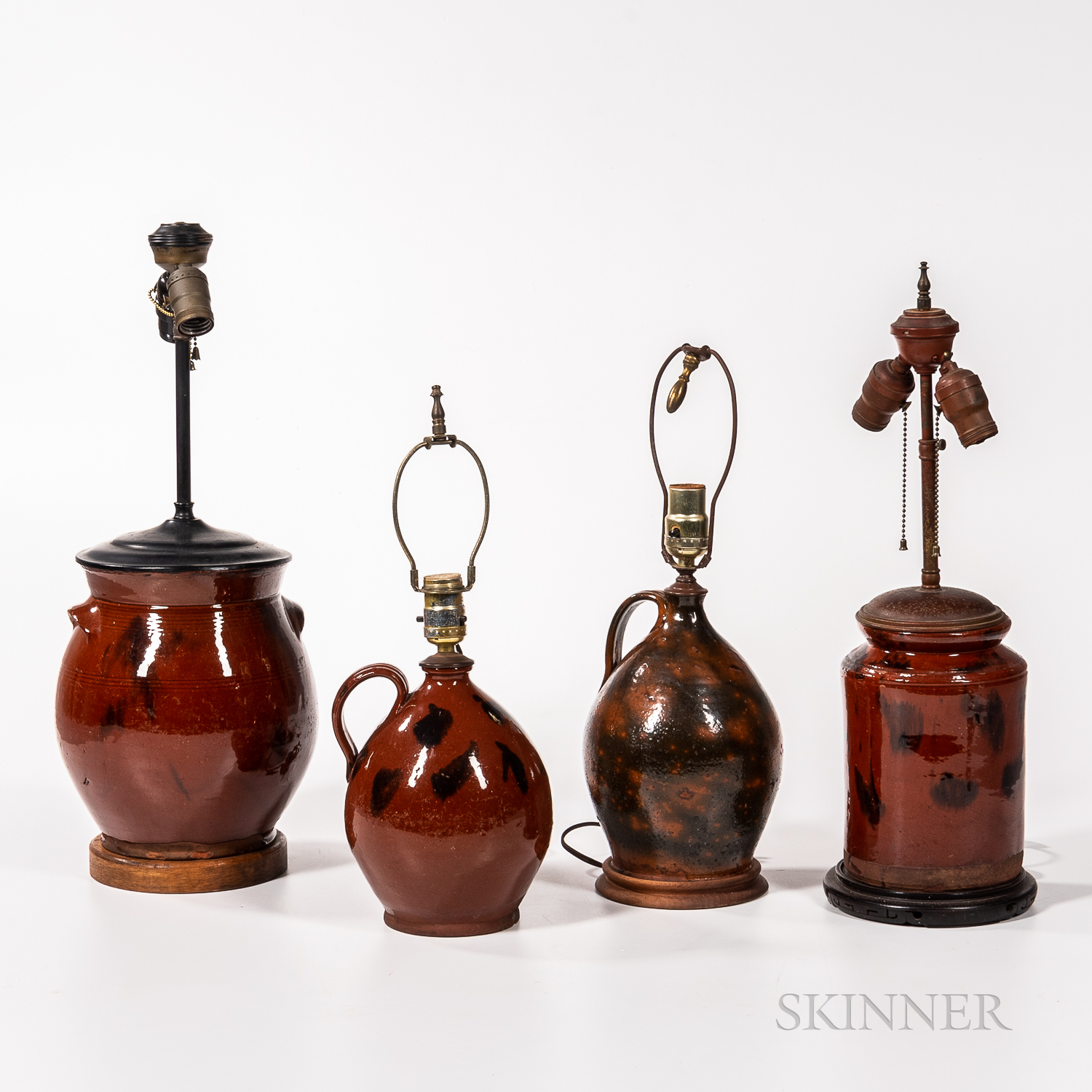 Four Redware Jars Mounted as Lamps