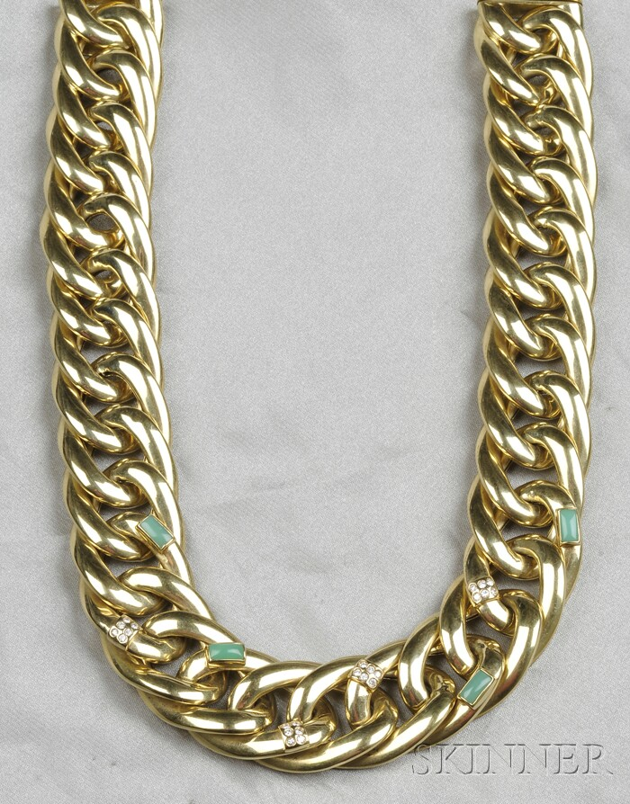 18kt Gold, Green Chalcedony, and Diamond Necklace