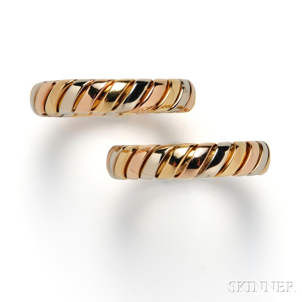 Pair of 18kt Tricolor Gold Tubogas Bands, Bulgari