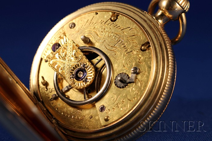 18kt Gold Savage Two-Pin Lever-Escapement Quarter-Repeating Watch by Litherland,   Davies & Company