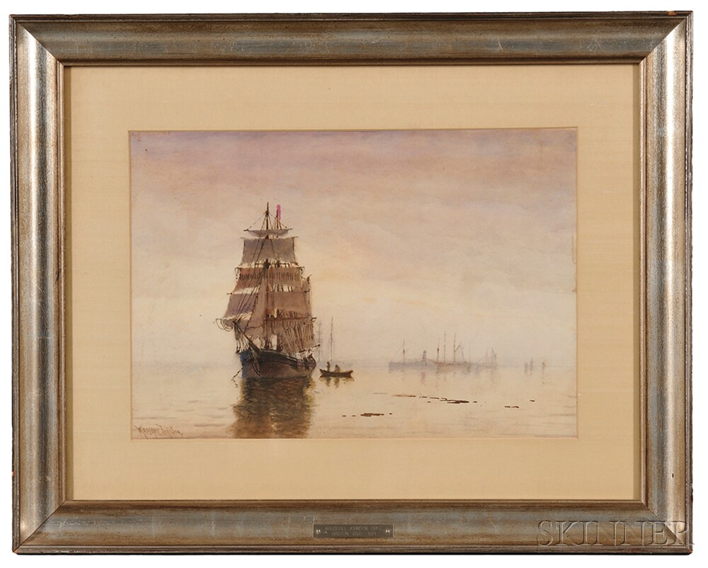 Marshall Johnson (Massachusetts, 1850-1921)      Ship at Anchor.