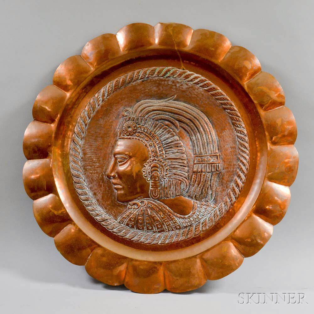 Copper Repousse Wall Plaque of a Figure with Headdress