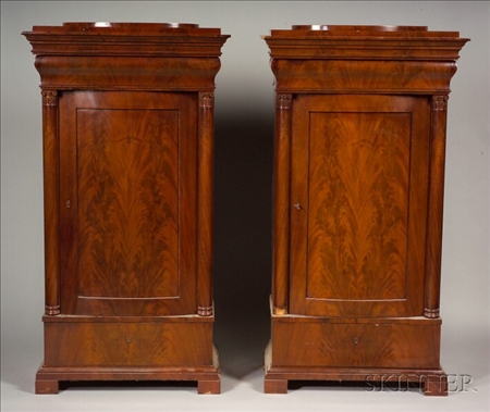 Pair of  Mahogany Bowfront Cabinets