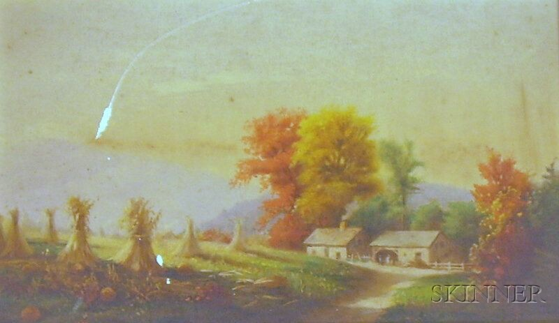 Framed Chromolithograph  of a Country View in the Manner of Louis Prang   (American, 1824-1909)