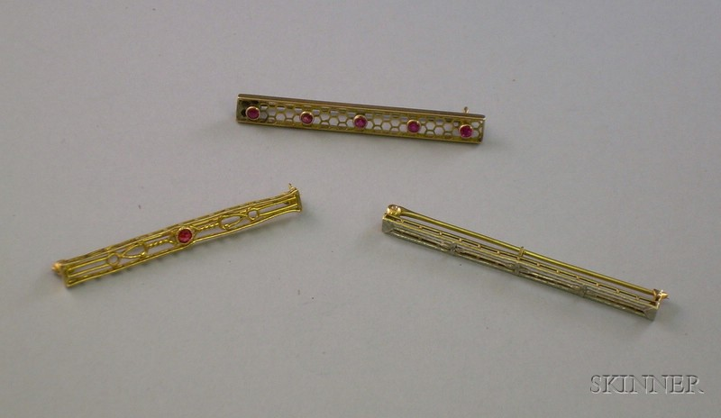 One 14kt and Two 10kt Gold Bar Pins