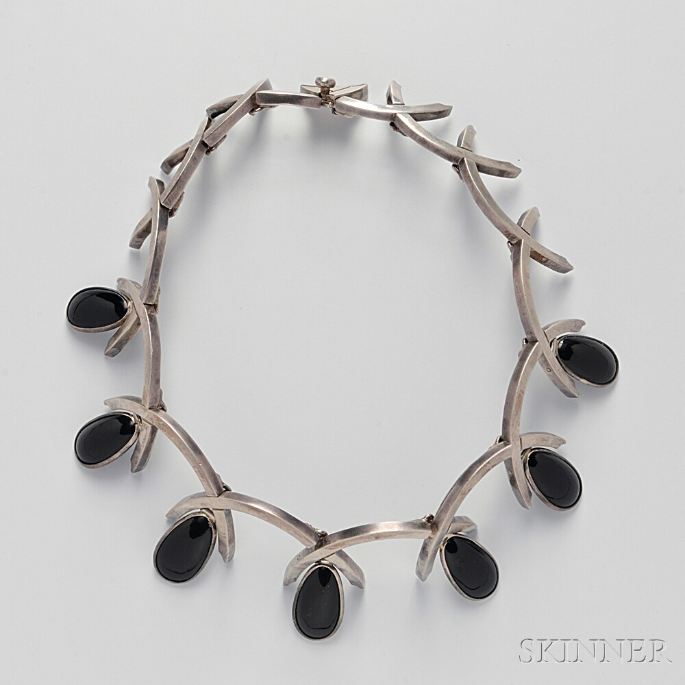 Sterling Silver and Onyx Necklace, Antonio Pineda