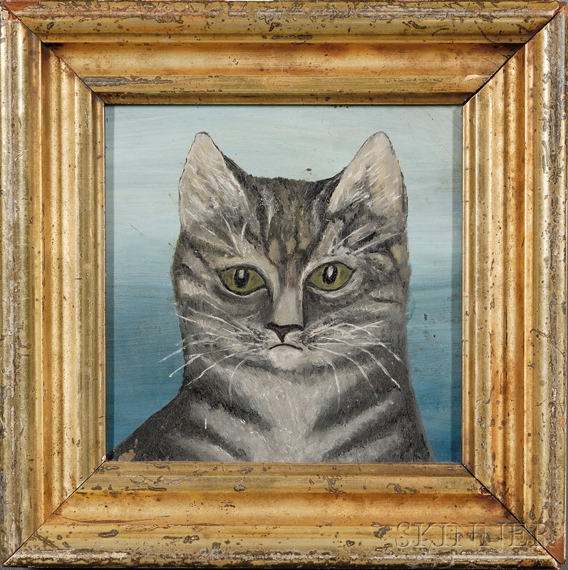 American School, 19th Century      Portrait of a Gray Tiger Cat.