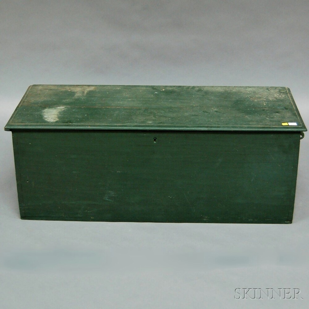 Green-painted Pine Dovetail-constructed Sea Chest with Canted Front Panel