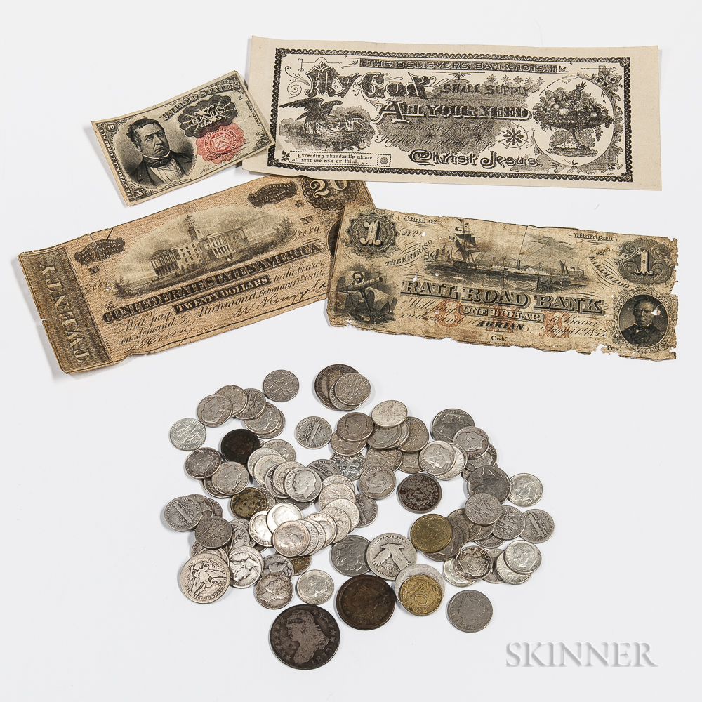 Small Group of American Coins and Currency