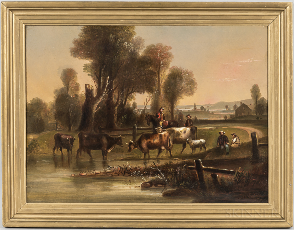 William Otis Bemis (Massachusetts, 1819-1883)      Landscape with Cows