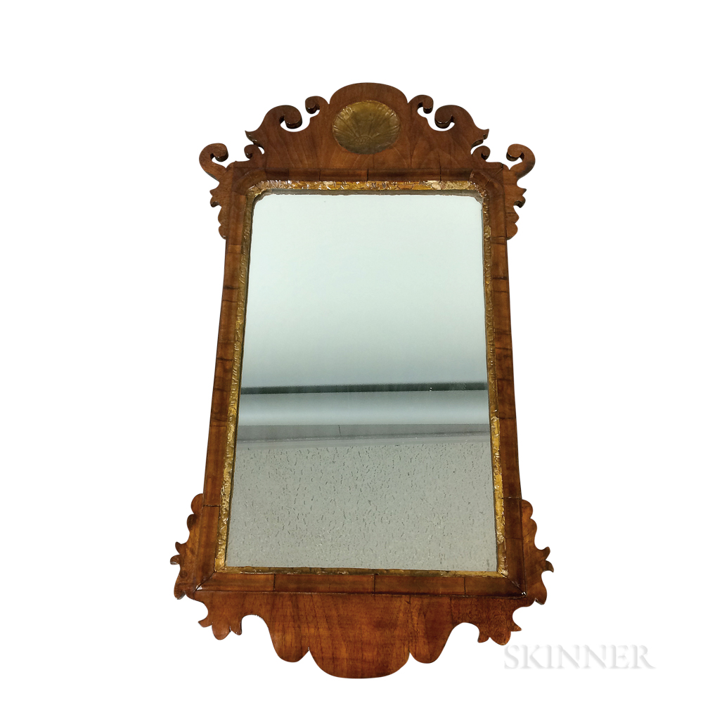 Small Queen Anne Carved Walnut Veneer Scroll-frame Mirror