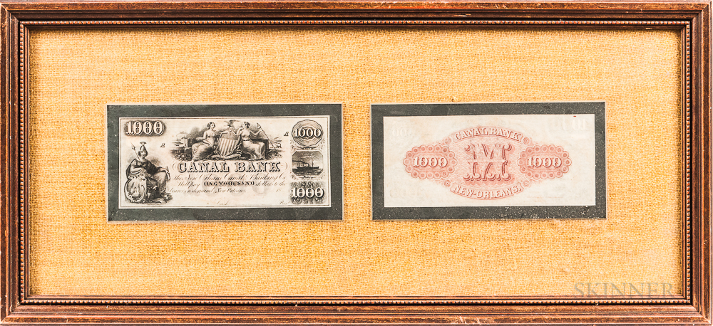 Five Framed Groups of Banknotes and Receipts