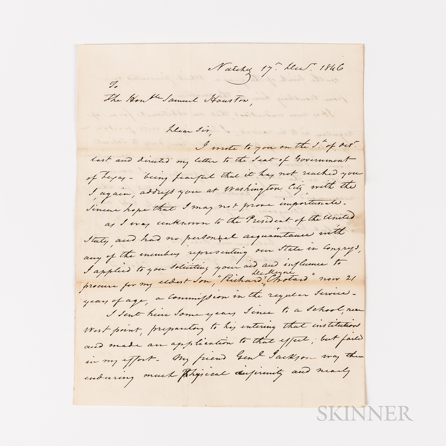 Chotard, Henry Autograph Letter Signed with Sam Houston (1793-1863) Autograph Note Signed Reply, 14 January 1846.