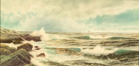 George Howell Gay (American, 1858-1931)    Crashing Surf Along a Rocky Coast