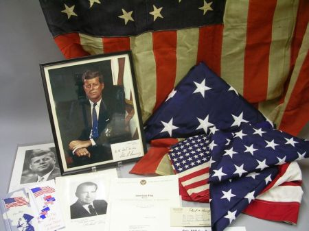 Group of American Flags and Related Certificates, Correspondence, and Collectibles