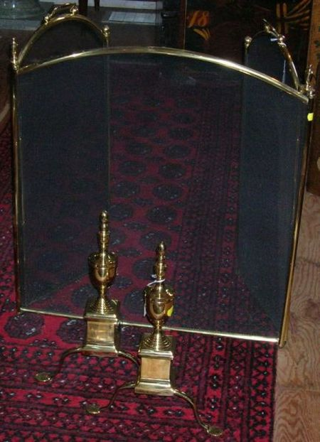 Pair of Brass Urn-top Andirons, and a Brass and Wire Three-part Folding Firescreen.