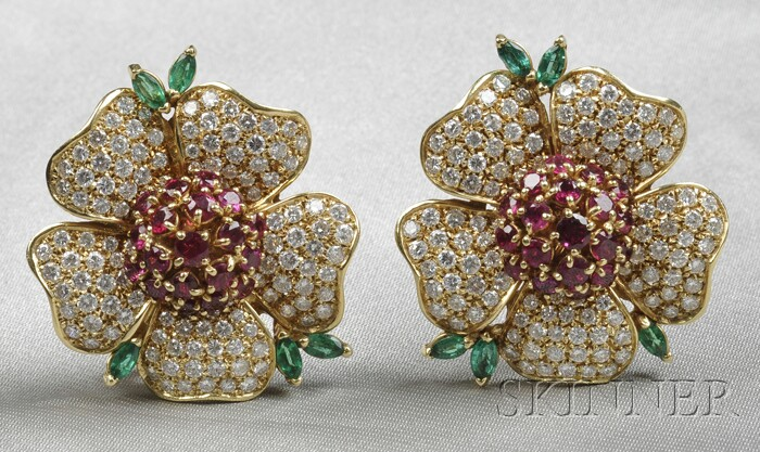 18kt Gold, Ruby, Emerald, and Diamond Earclips