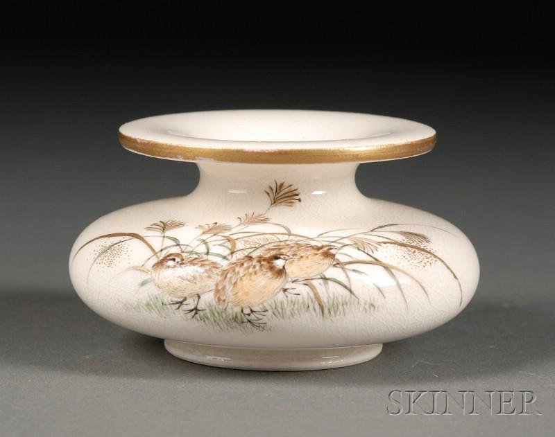 Japanese Satsuma Painted Pottery Small Vase