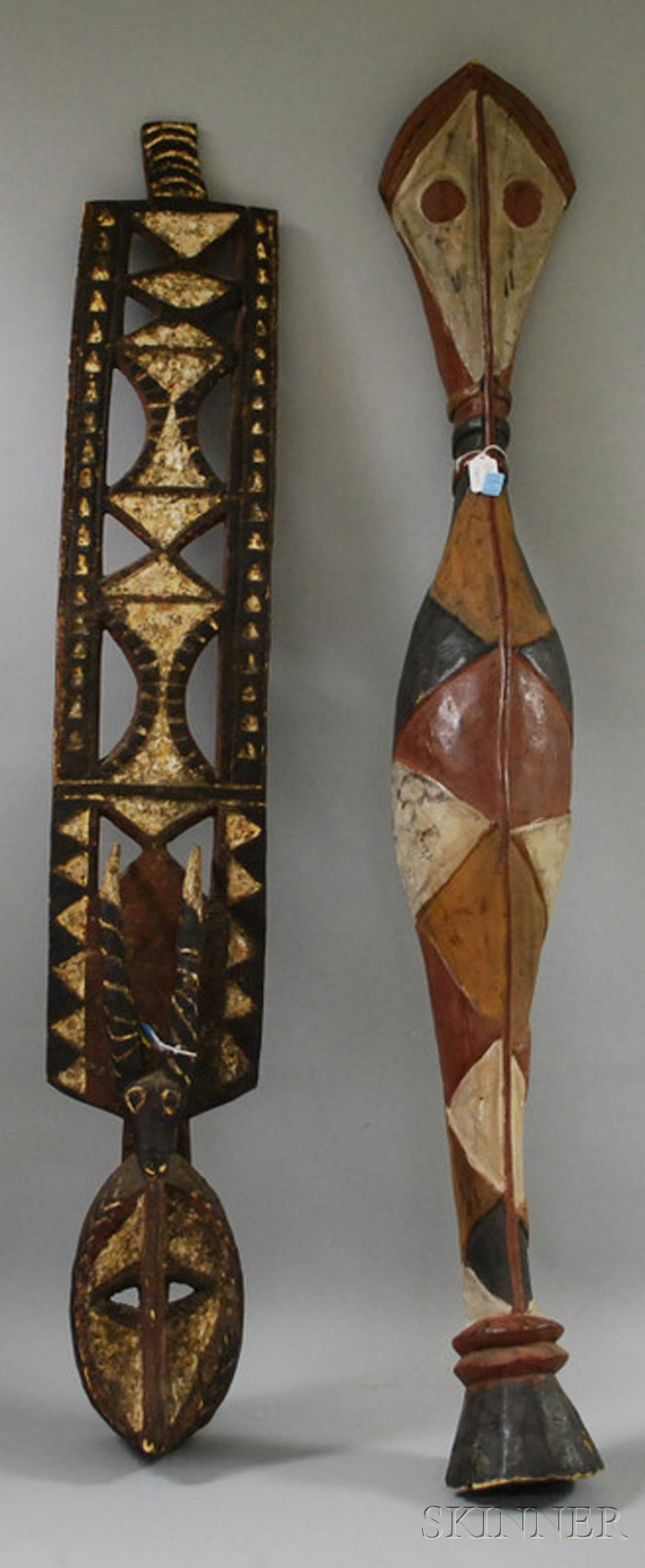 Carved Painted Wooden Baga-style Serpent and Mossi-style Plank Mask