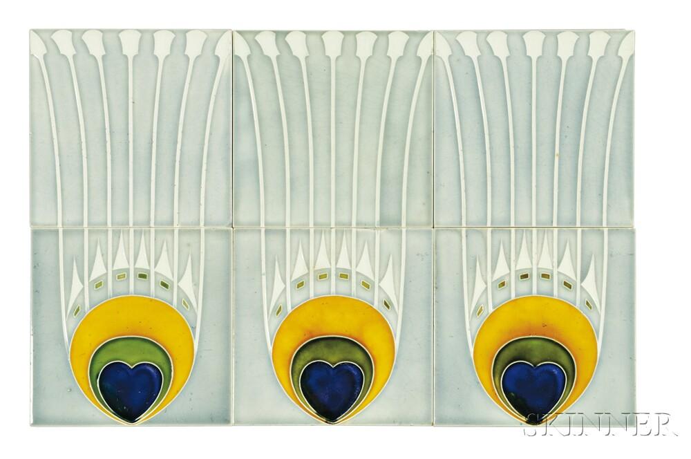 Twenty-two Art Nouveau Tiles