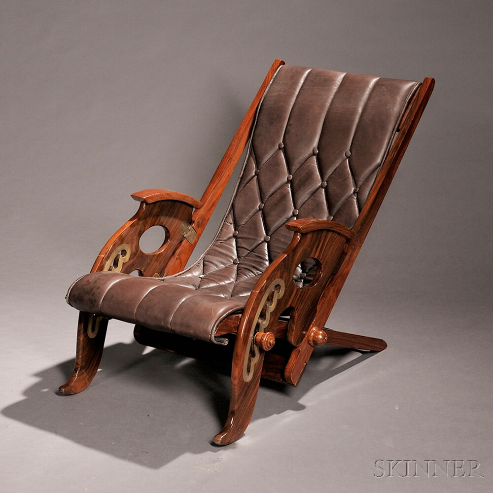 Rosewood and Mahogany Folding Deck Chair