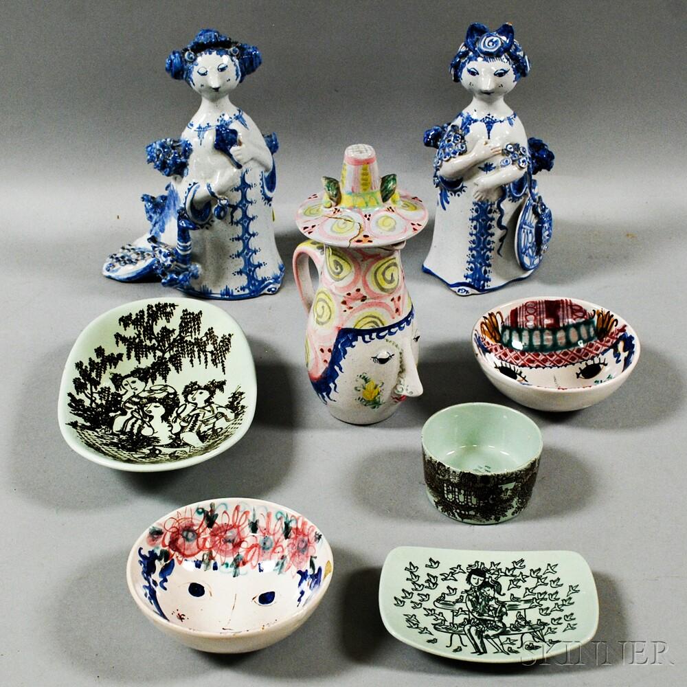 Eight Pieces of Bjorn Wiinblad Danish Ceramics