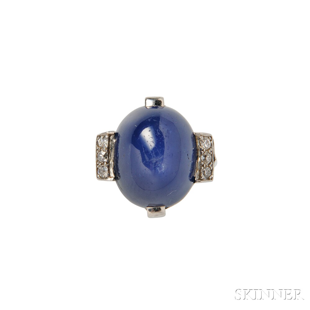 Art Deco Platinum, Star Sapphire, and Diamond Ring