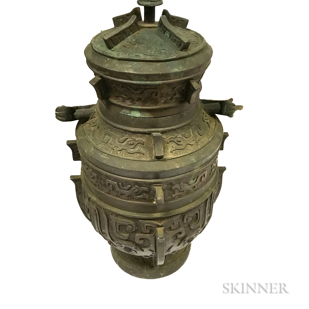 Chinese Handled Bronze Vessel