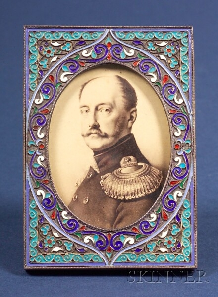 Small Peter Carl Faberge Silver Enamel Picture Frame