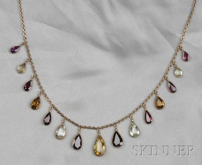 Antique 14kt Gold Gem-set Fringe Necklace