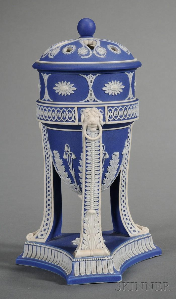 Wedgwood Dark Blue Jasper Dip Tripod Vase and Cover