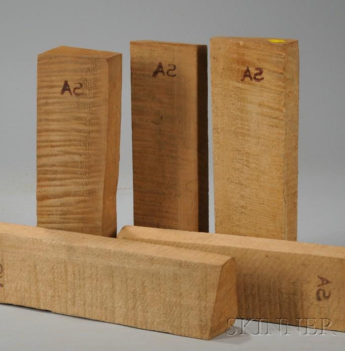 Five Quartersawn Maple Violin Neck Blocks.