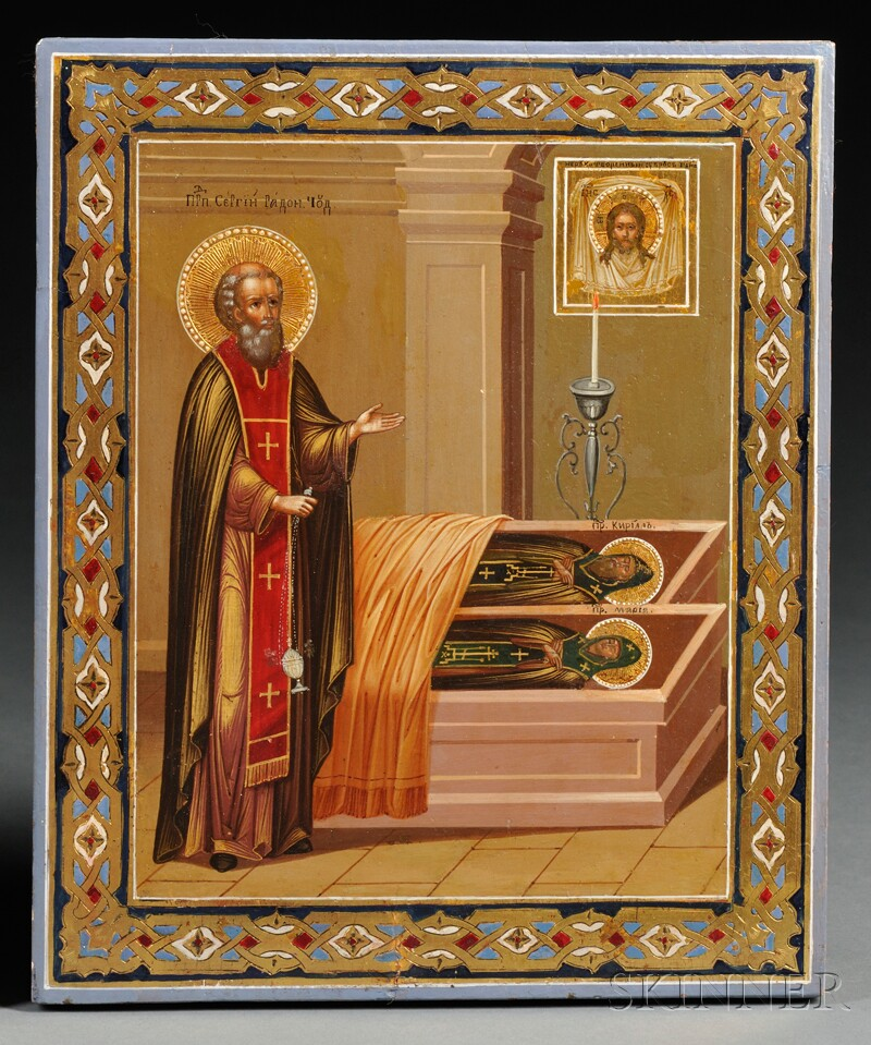 Russian Icon of St. Sergius at the Tomb of His Parents