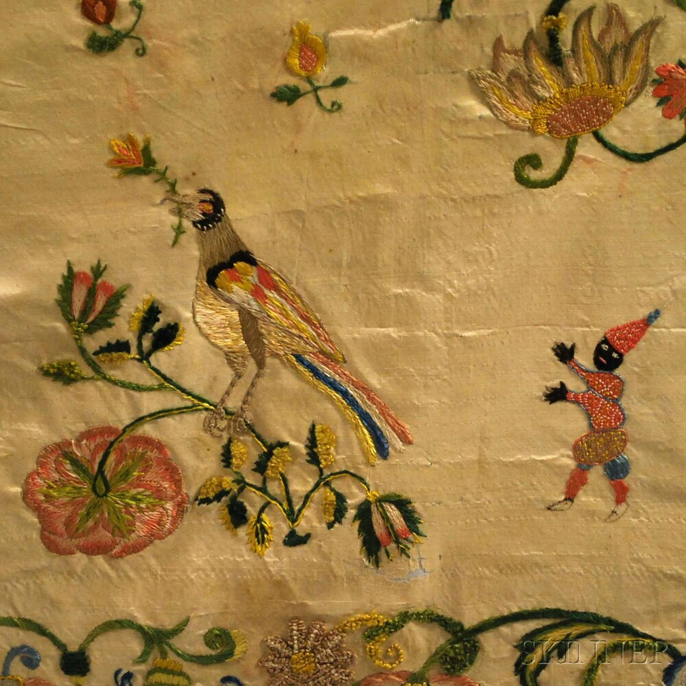 Early Embroidered Silk Apron/Panel