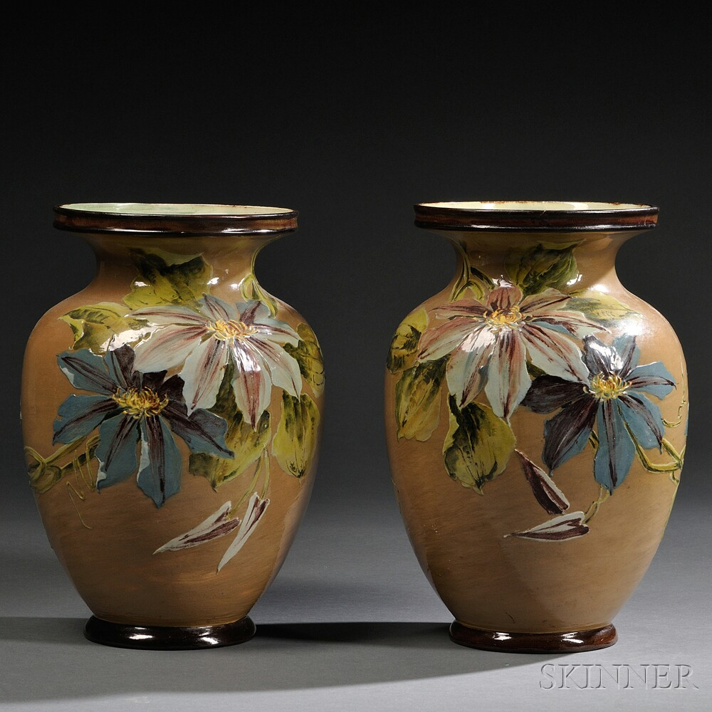 Pair of Doulton Lambeth Impasto Vases
