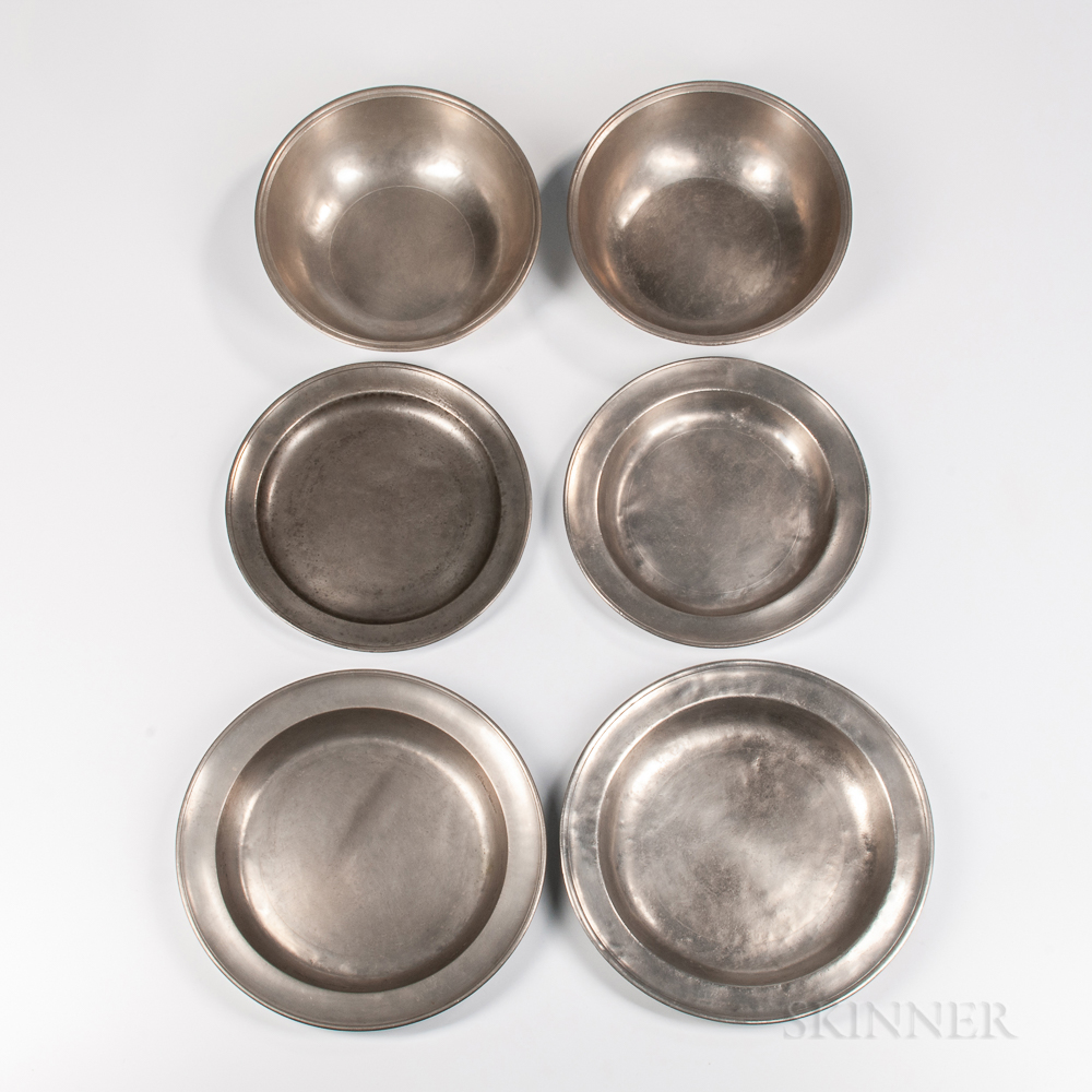 Six American Pewter Table Items