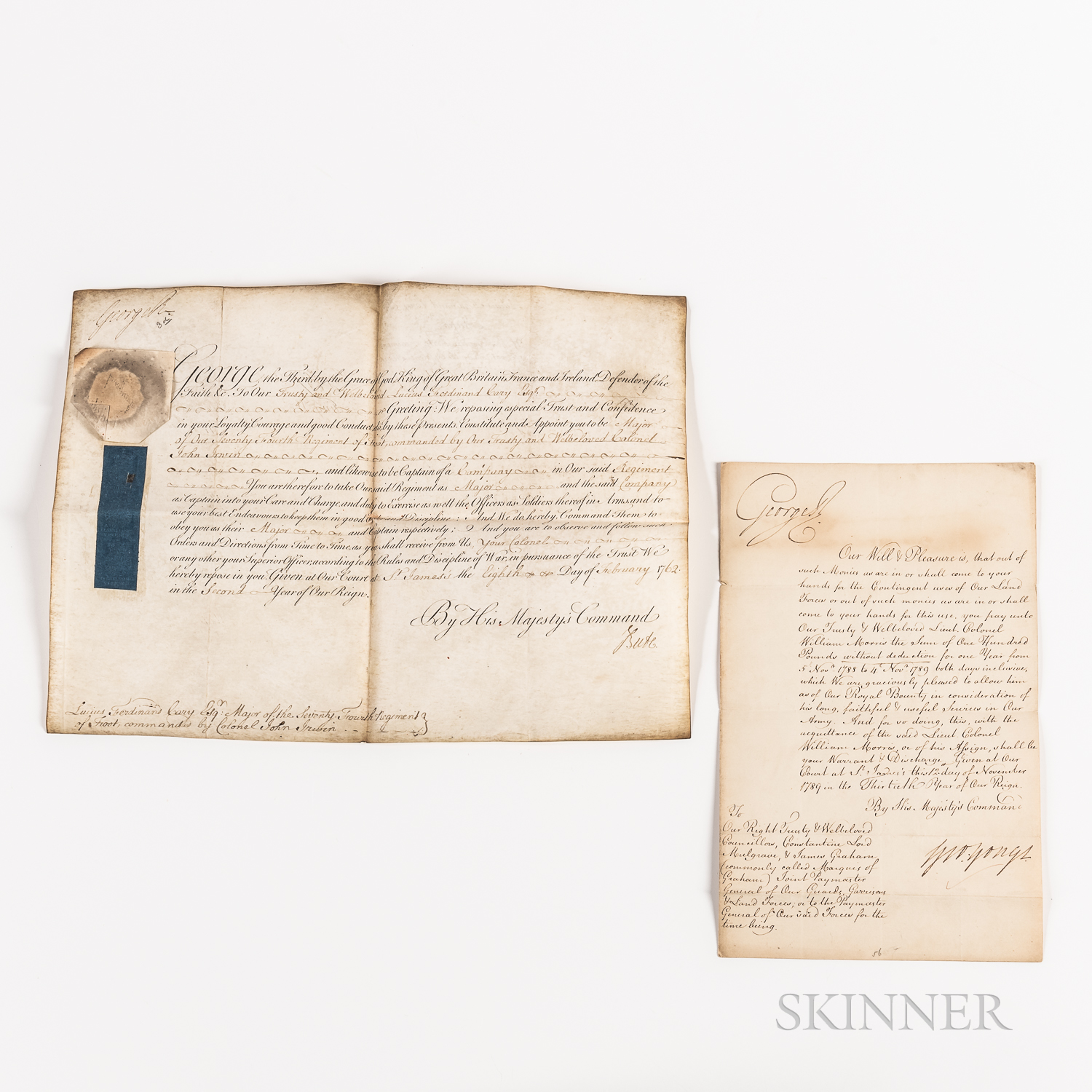 George III (1738-1820) Two Documents Signed.