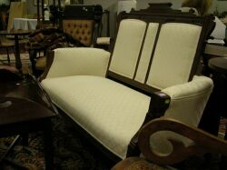 Eastlake-type Upholstered Walnut Settee.