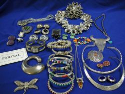Group of Silver, Mexican Silver, Designer and Costume Jewelry.