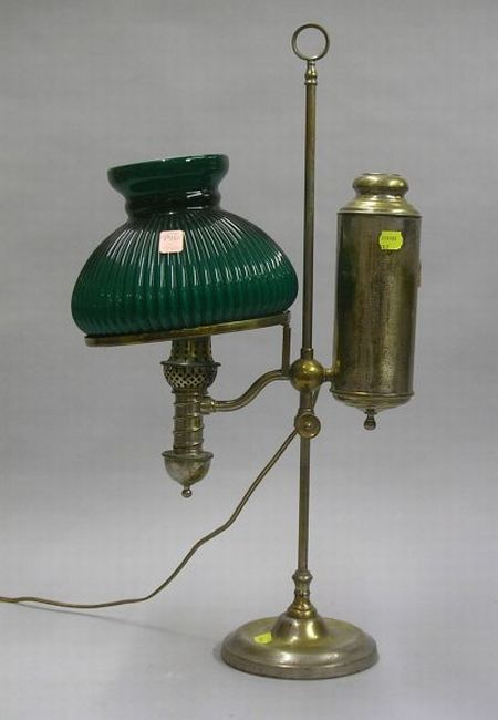 Nickel Plated Student Lamp with Green Cased Glass Shade