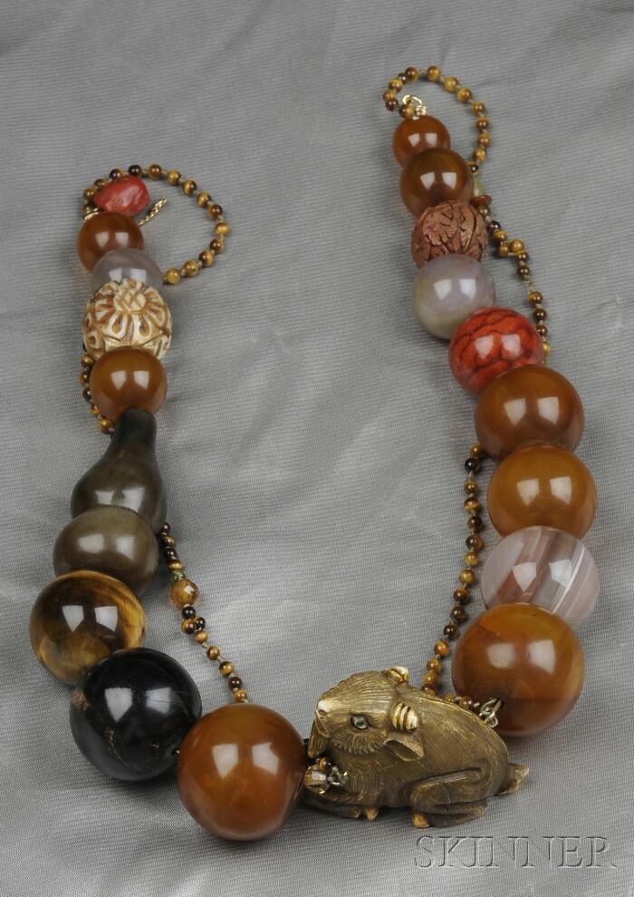 Bone Netsuke and Hardstone Bead Necklace, Constance Abernathy