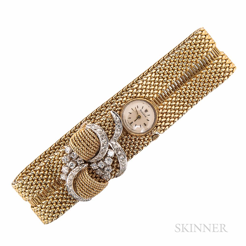 14kt Gold and Diamond Bracelet Watch