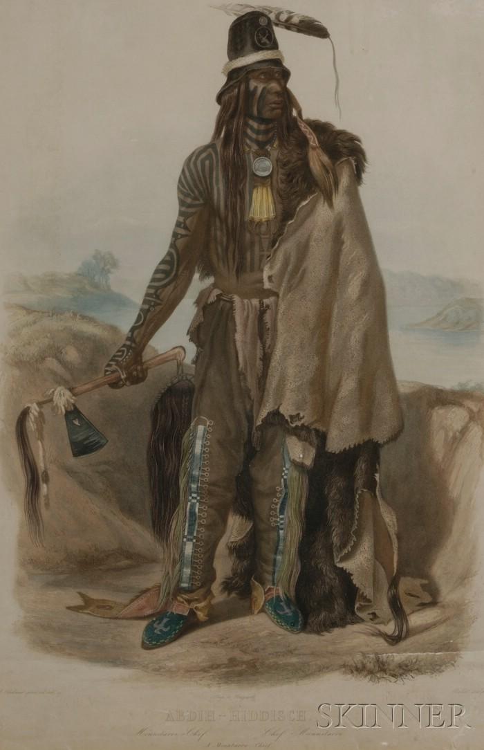 After Karl Bodmer (Swiss, 1809-1893),     Abdih-Hiddisch. A Minatarre Chief