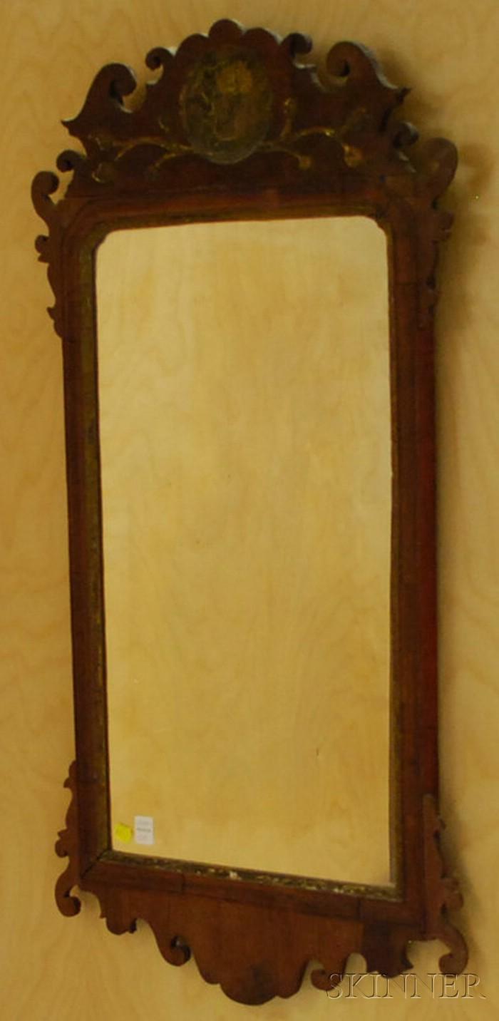 Chippendale Mahogany Veneer Mirror