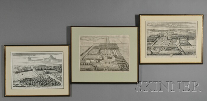 Three Framed Engravings After L. Knuff and Johannes Kip
