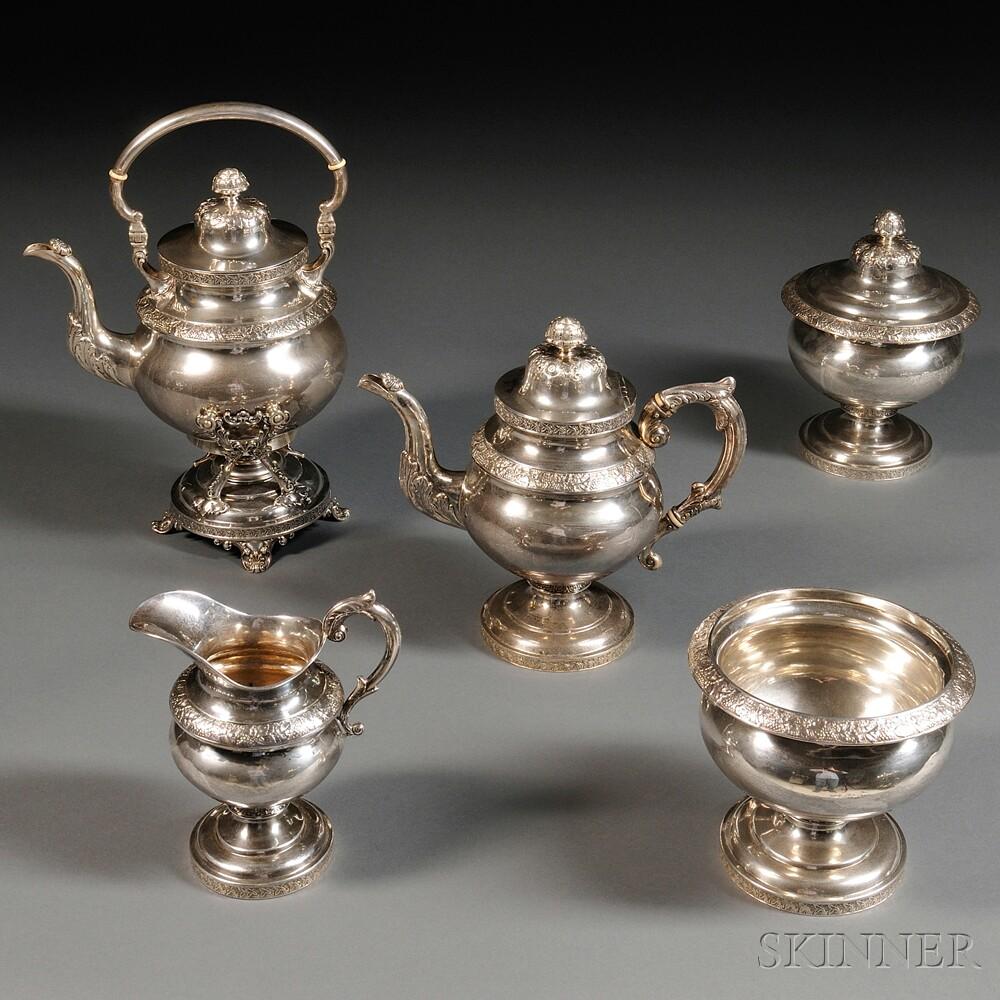 Five-piece Robert & William Wilson Coin Silver Tea Service