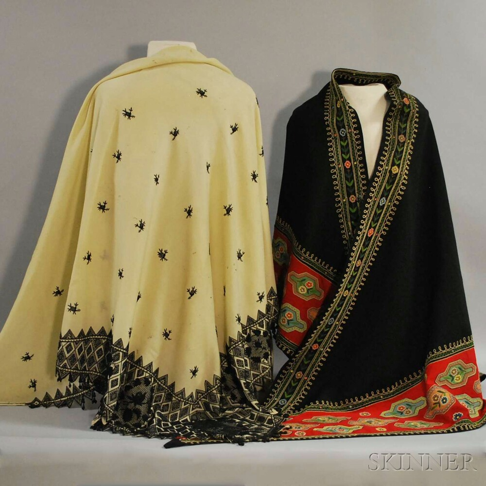 Two Wool and Silk Chain-stitch Embroidered Shawls