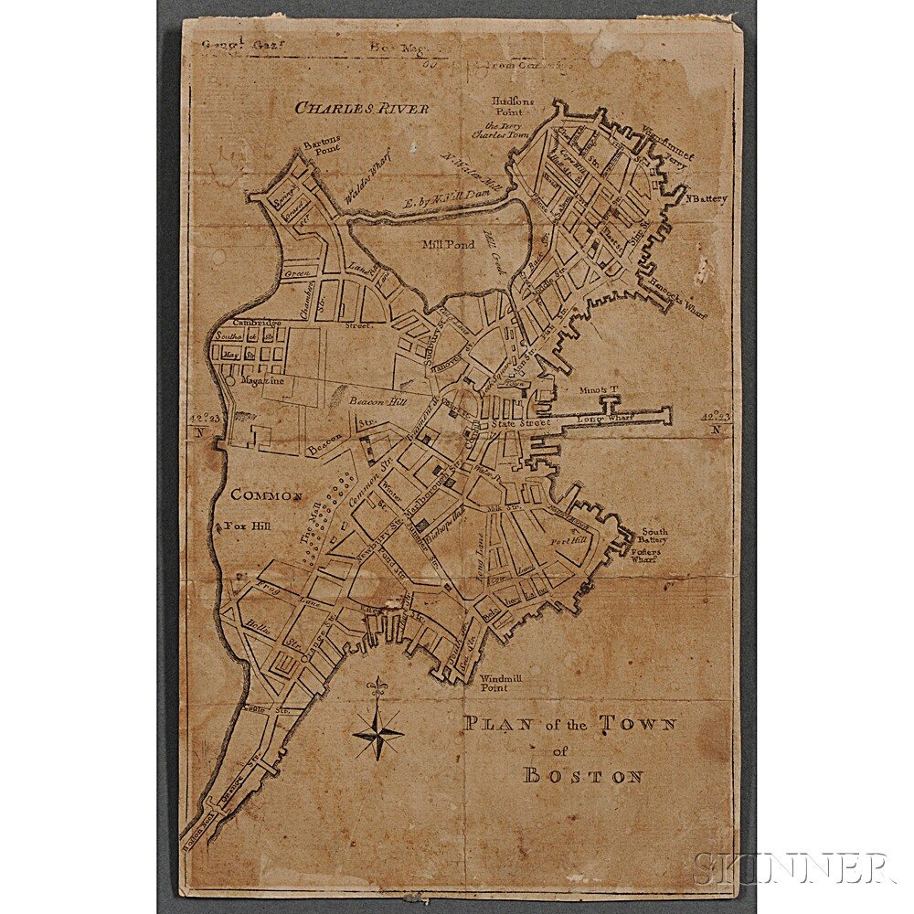 Boston. John Norman (d. 1817) Plan of the Town of Boston  . [from] The Boston Magazine's Geographical Gazetteer